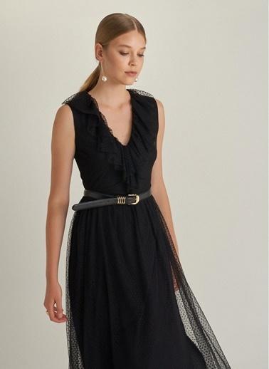 NGSTYLE Volanlı Midi Tül Elbise Siyah